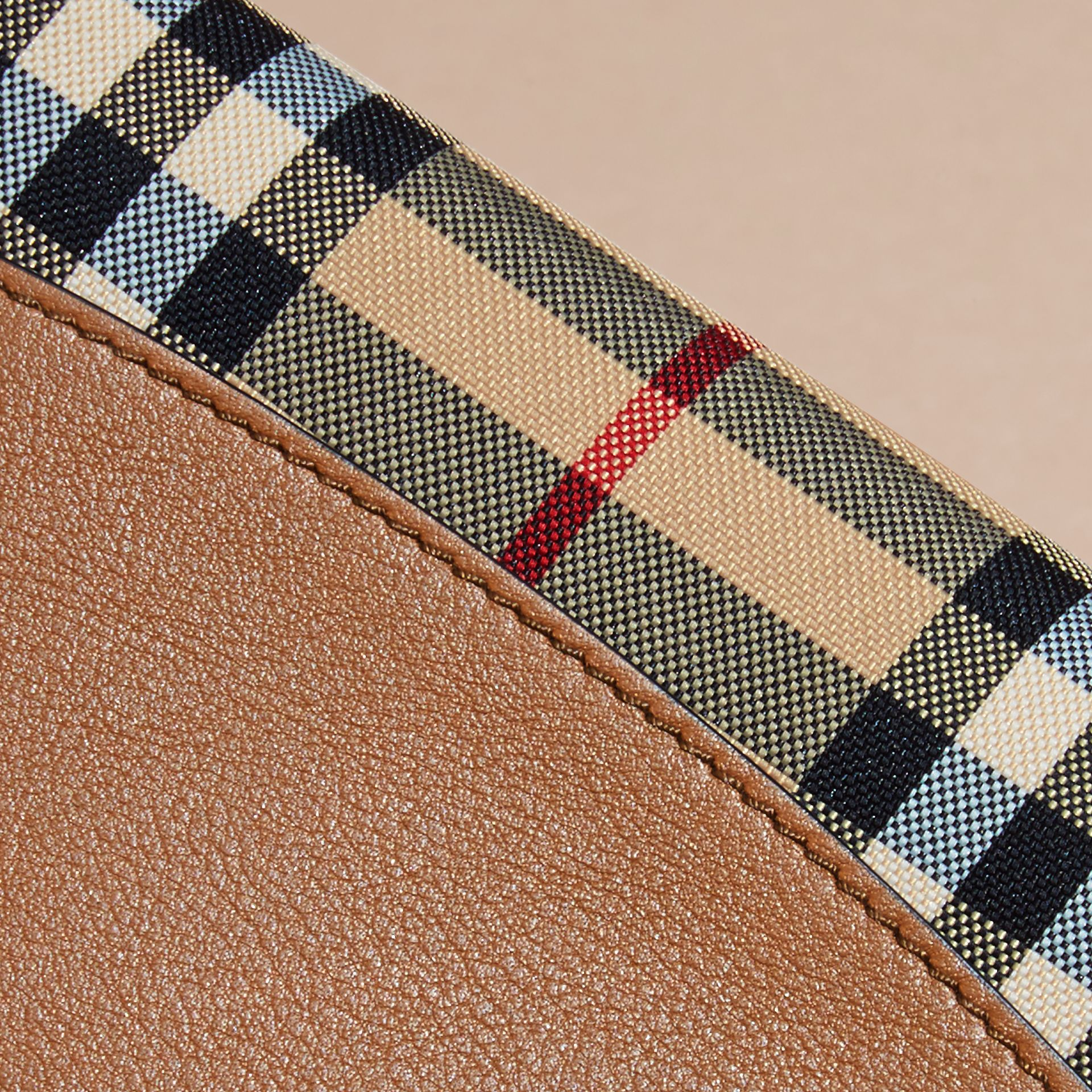 Tan Horseferry Check and Leather Ziparound Wallet Tan - gallery image 2