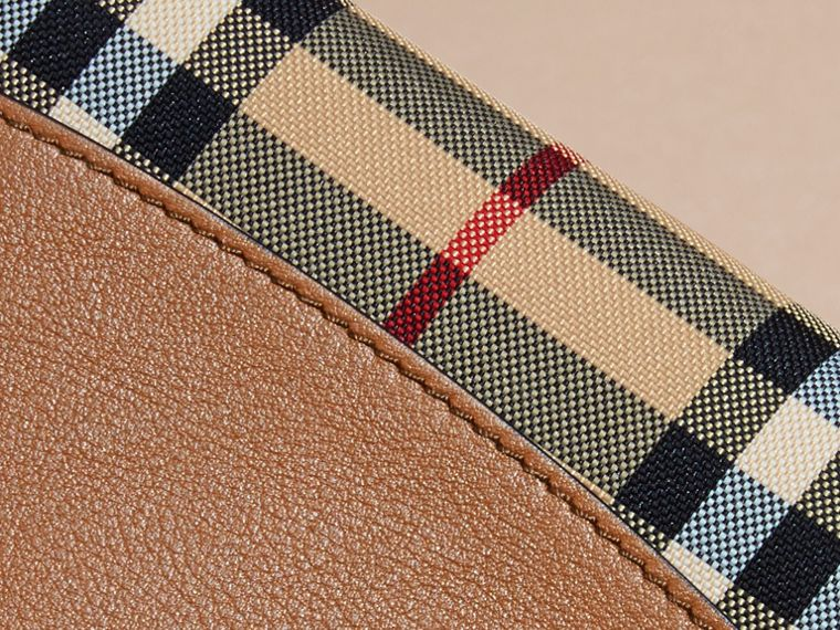 Tan Horseferry Check and Leather Ziparound Wallet Tan - cell image 1