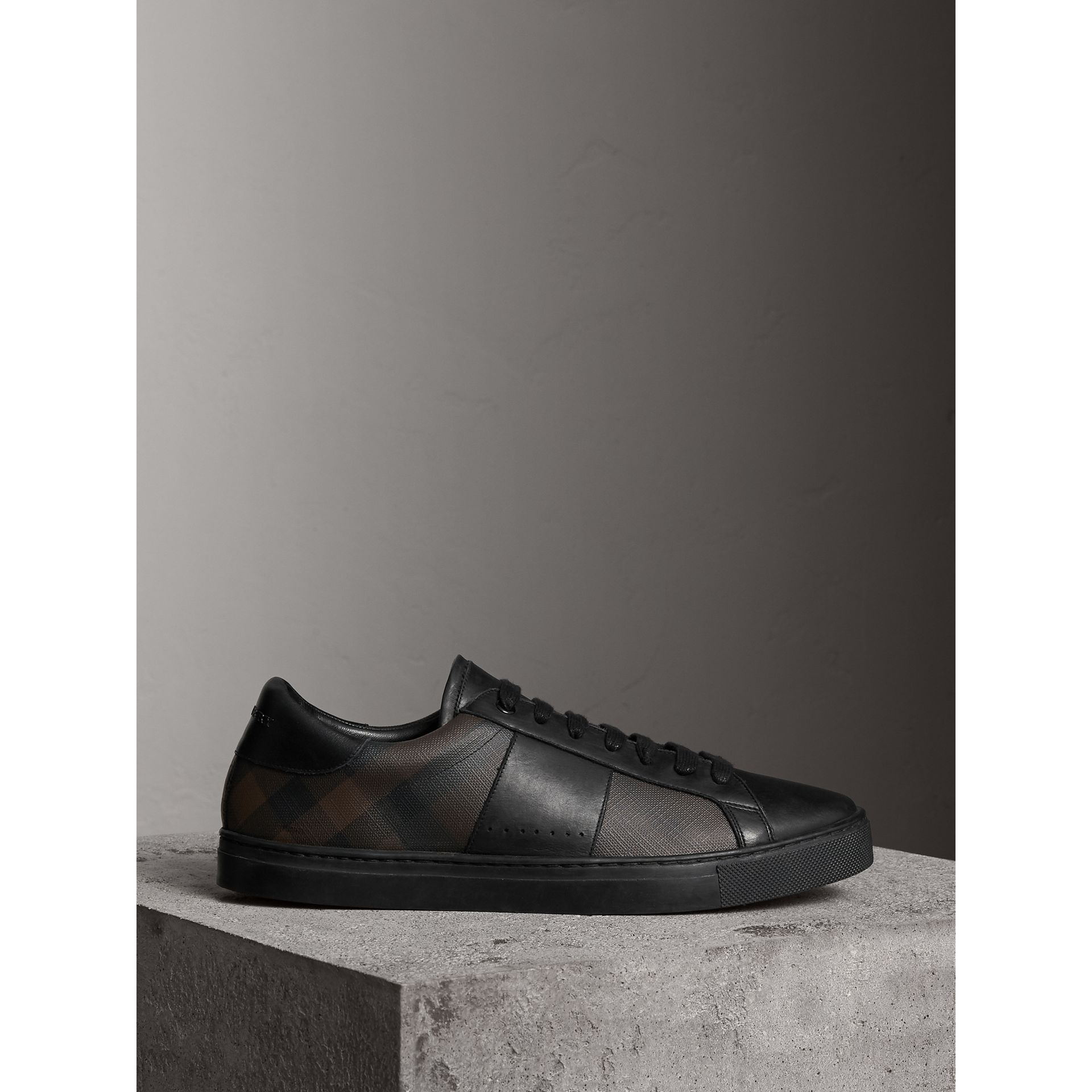 Check Detail Leather Trainers in Smoked Chocolate Chk - Men | Burberry - gallery image 4