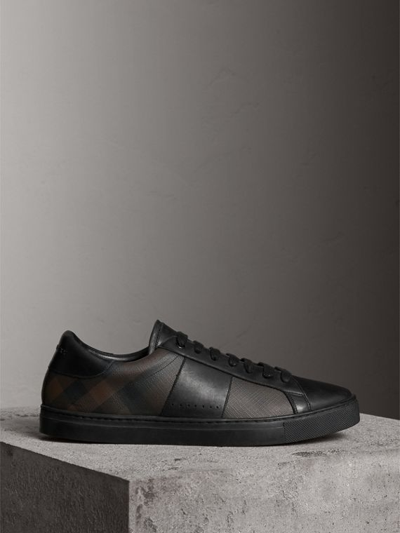 Check Detail Leather Trainers in Smoked Chocolate Chk - Men | Burberry - cell image 3