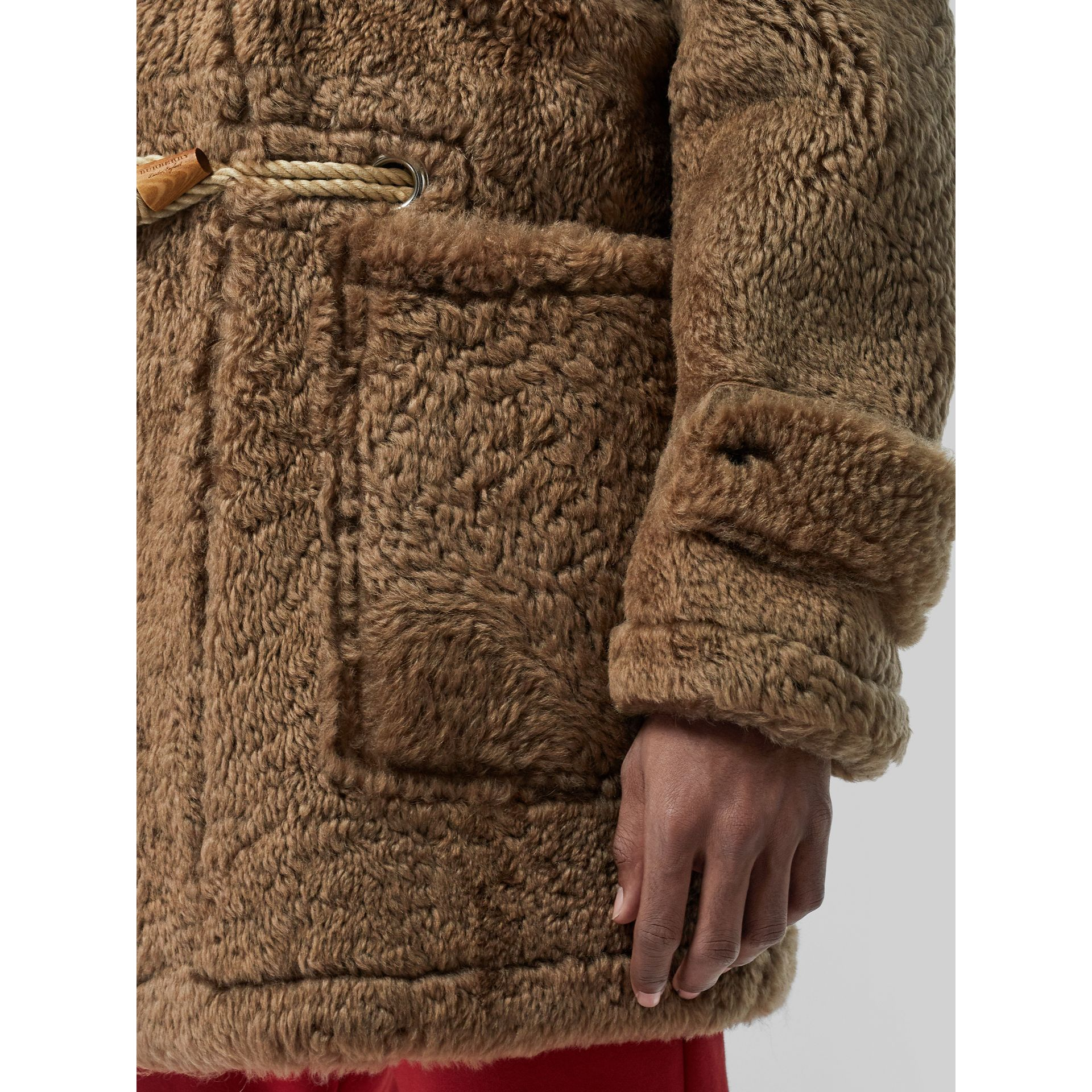 Shearling Duffle Coat in Taupe - Men | Burberry United Kingdom - gallery image 4