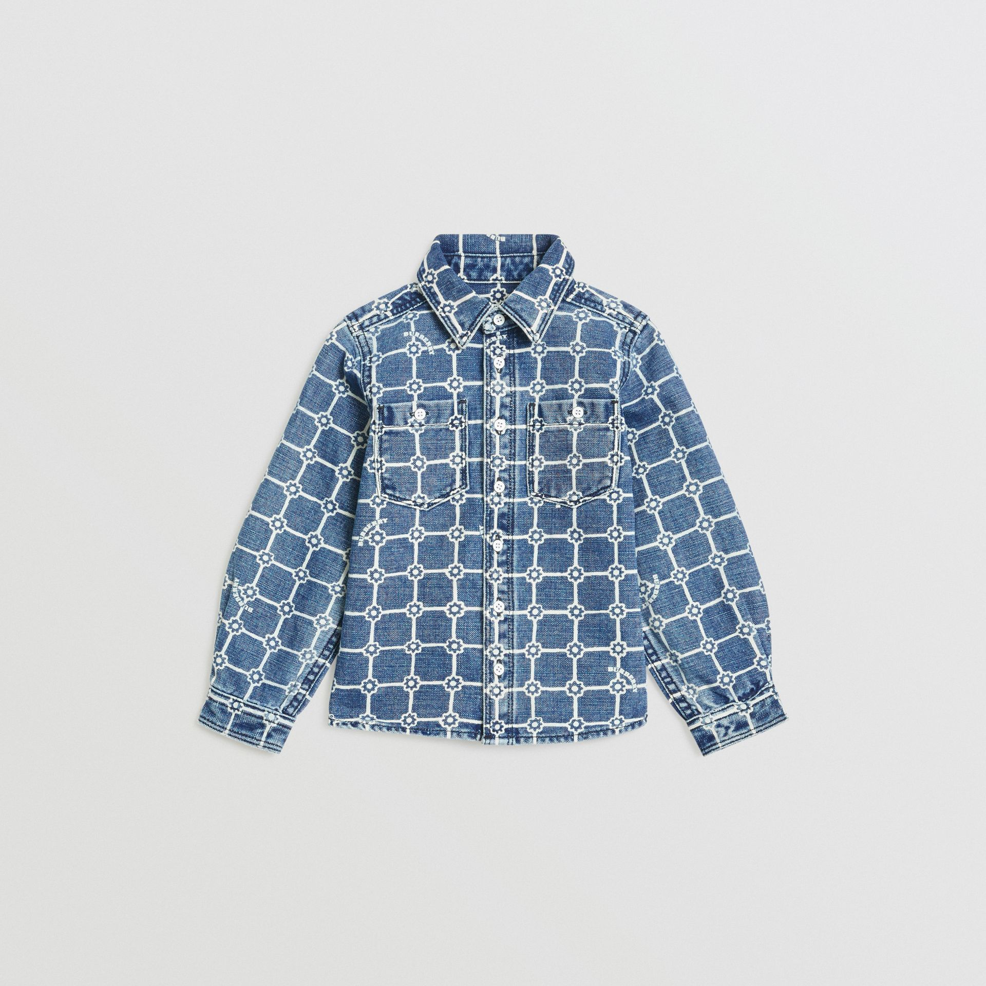 Flower Print Cotton Linen Shirt in Indigo | Burberry United States - gallery image 0