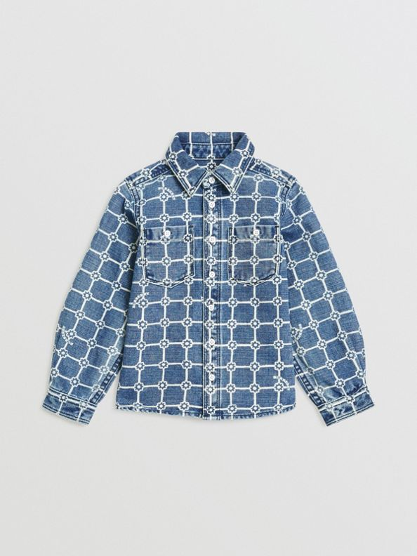 Flower Print Cotton Linen Shirt in Indigo