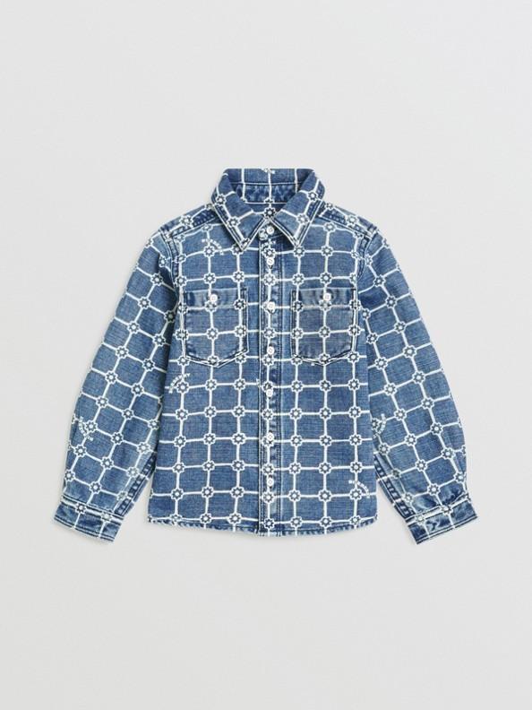 Camisa en algodón y lino con estampado de flores (Índigo)