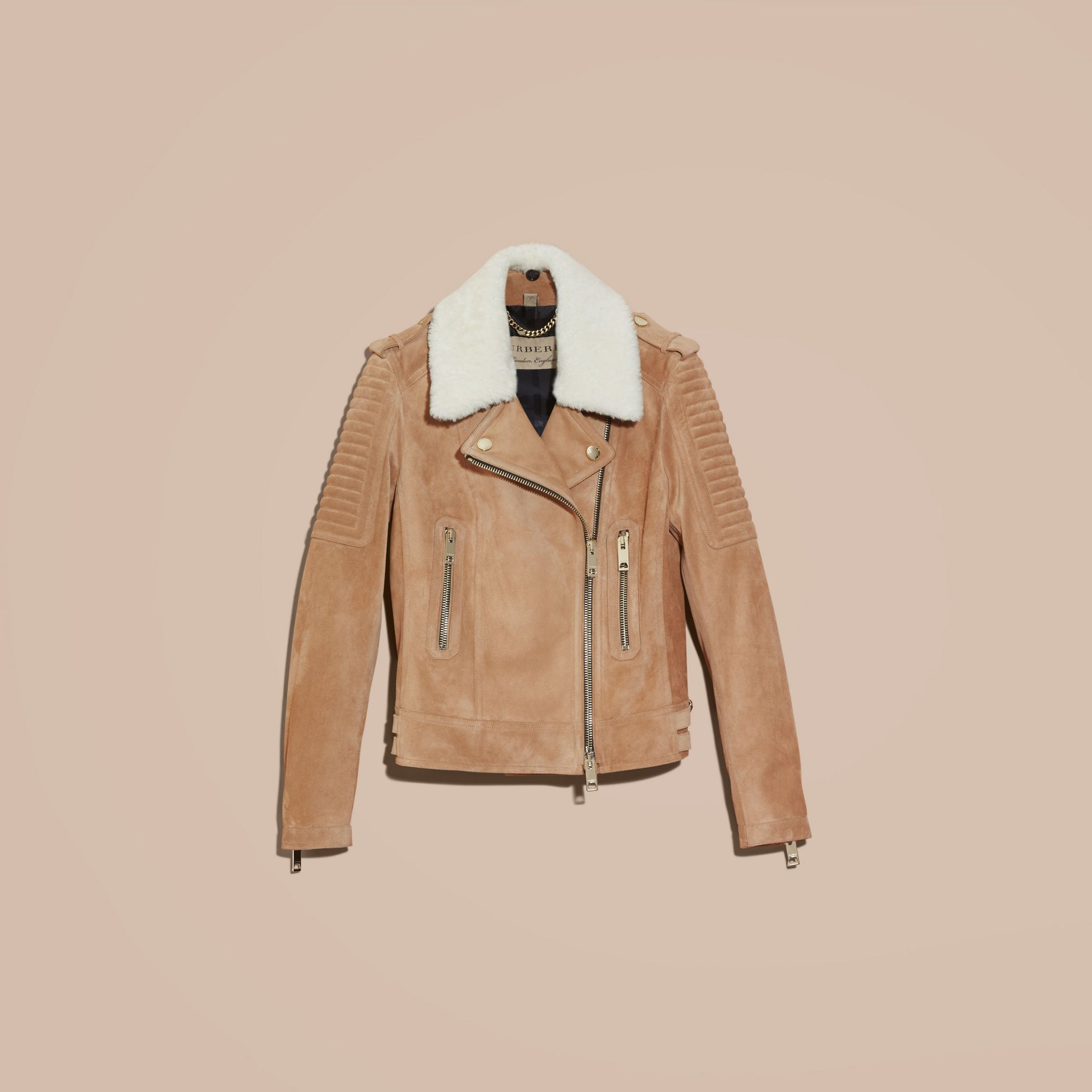 Honey Suede Biker Jacket with Shearling Collar - gallery image 4