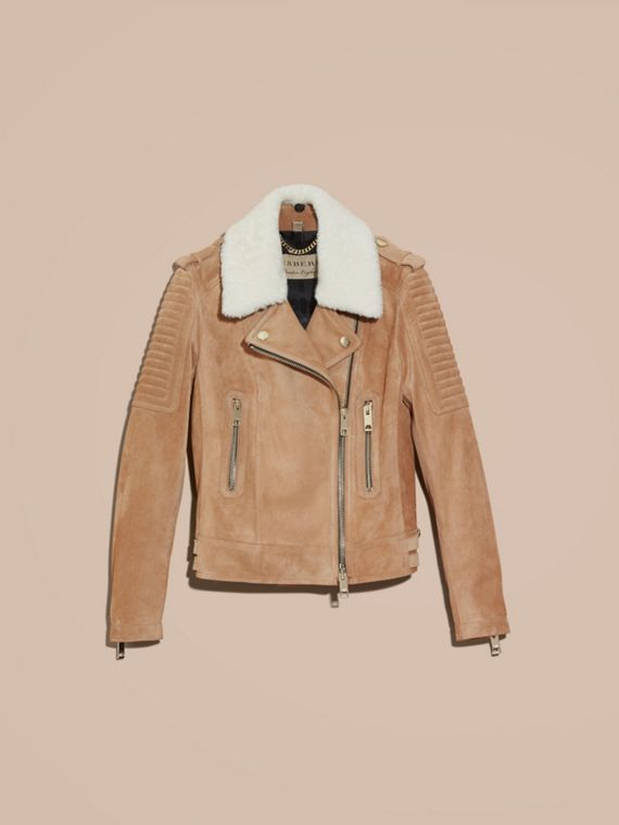 Honey Suede Biker Jacket with Shearling Collar - cell image 3