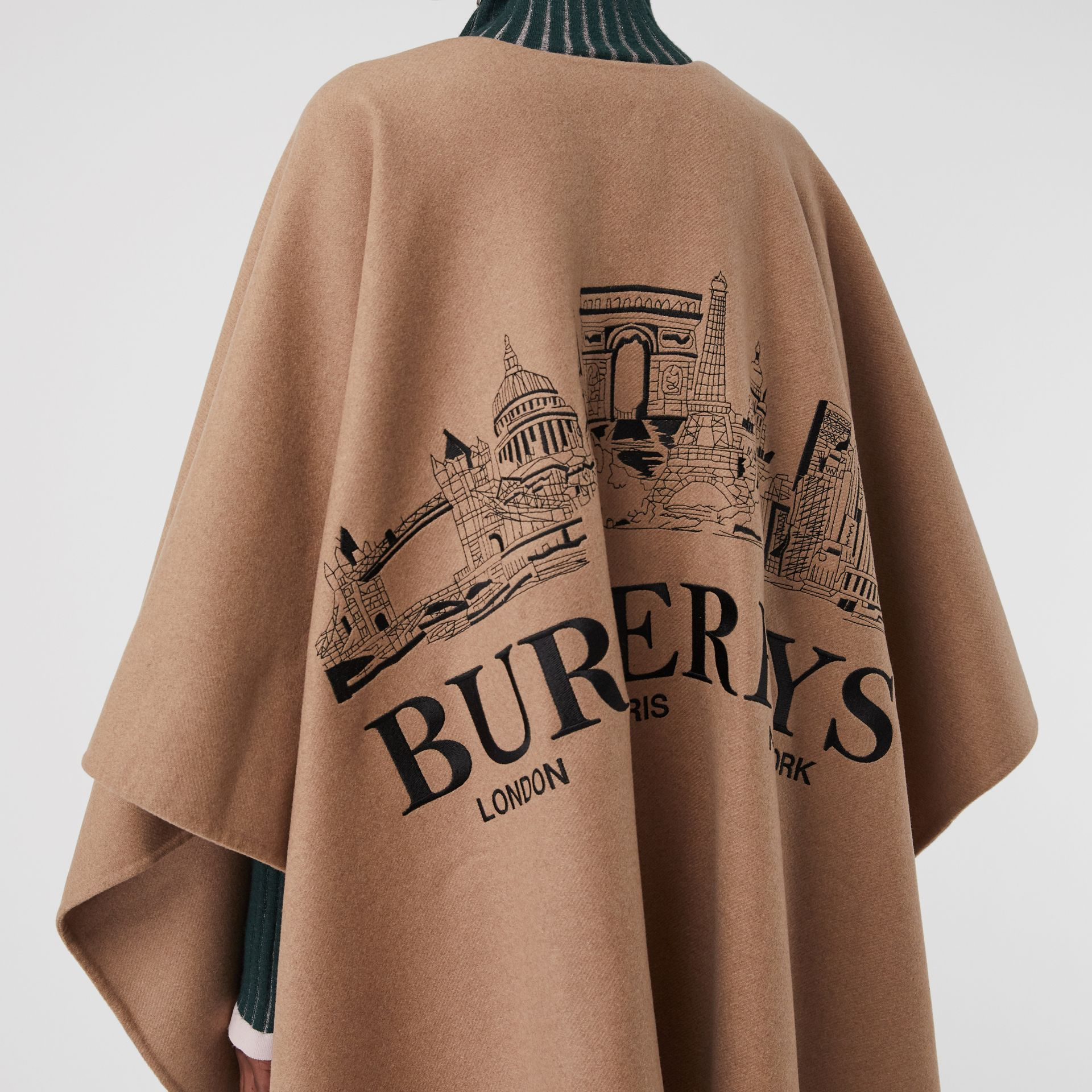 Embroidered Skyline Cashmere Poncho in Camel - Women | Burberry Australia - gallery image 1
