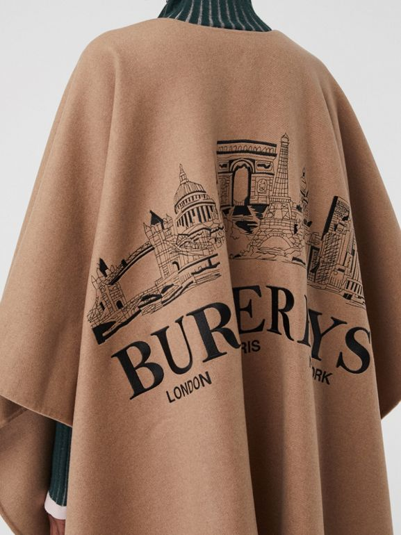 Embroidered Skyline Cashmere Poncho in Camel - Women | Burberry - cell image 1