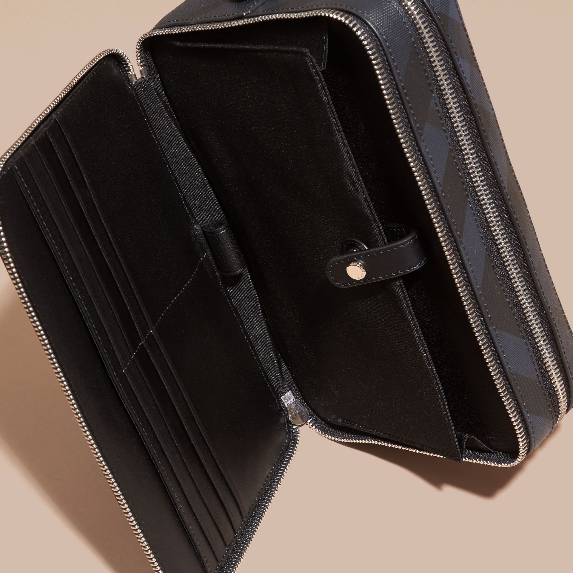 Leather-trimmed London Check Pouch in Navy/black - Men | Burberry - gallery image 4