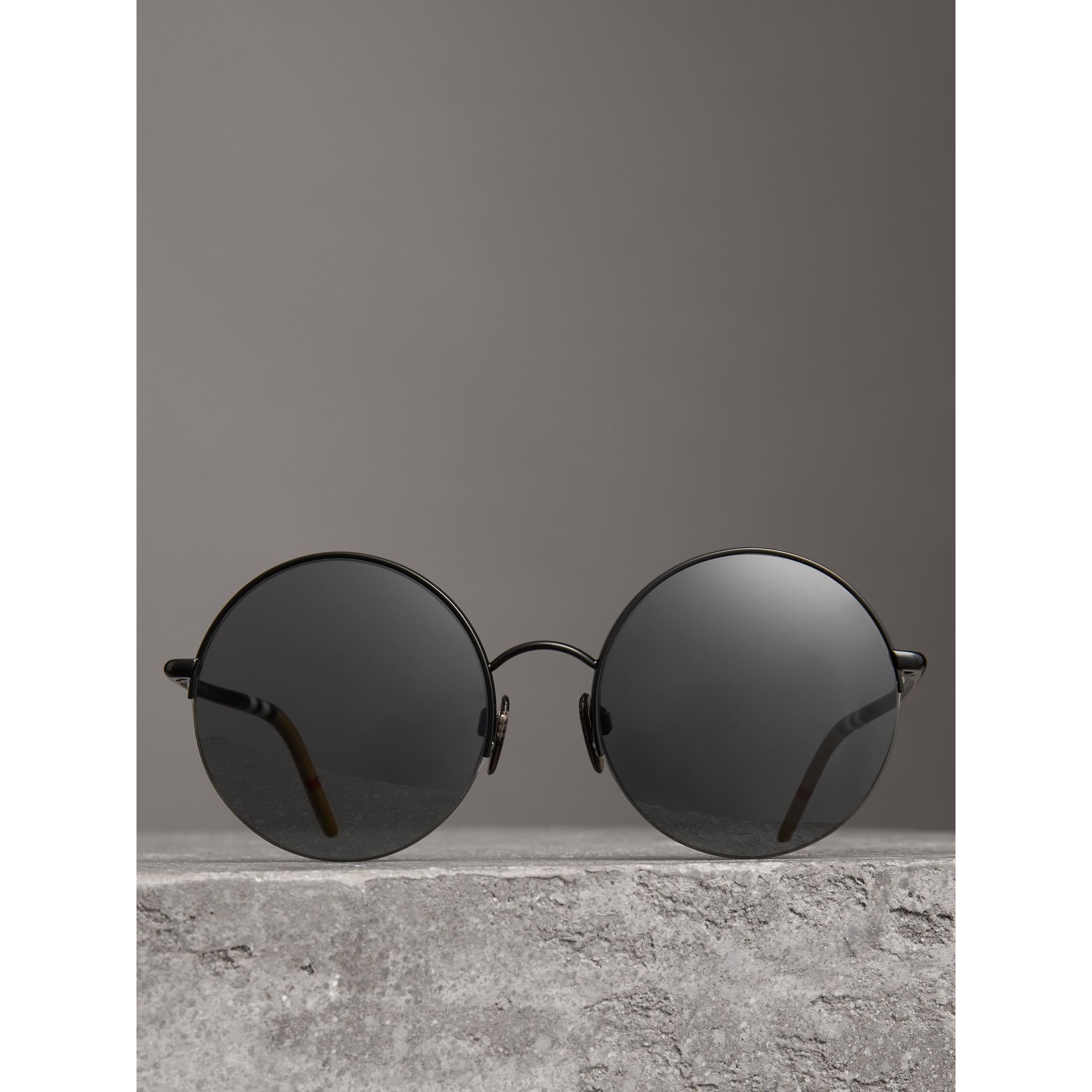 Check Detail Round Frame Sunglasses in Black - Women | Burberry United Kingdom - gallery image 2