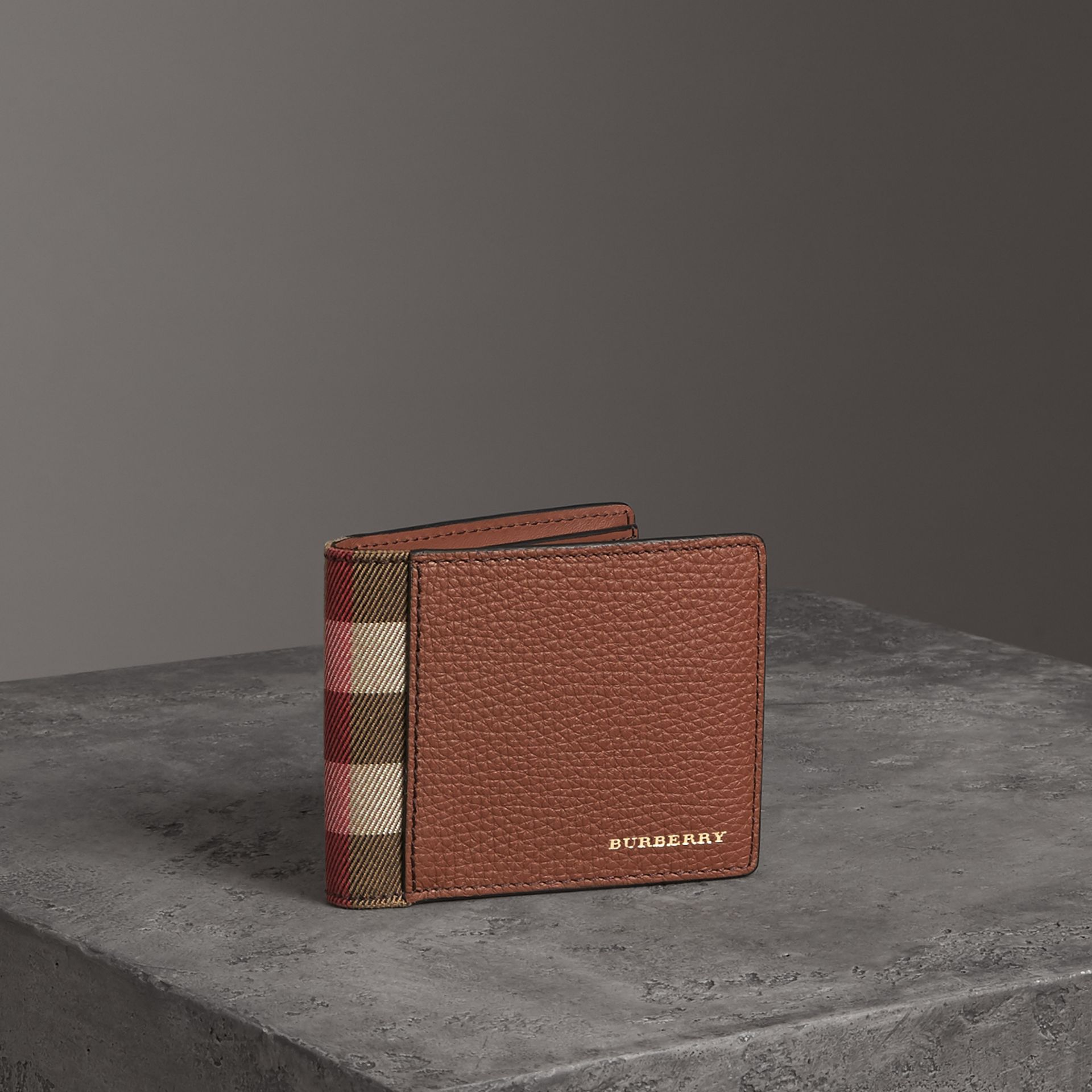 Grainy Leather and House Check Bifold Wallet in Chestnut Brown - Men | Burberry United States - gallery image 0