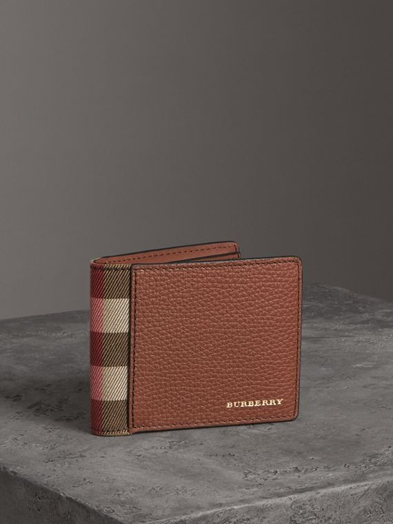 Grainy Leather and House Check Bifold Wallet in Chestnut Brown