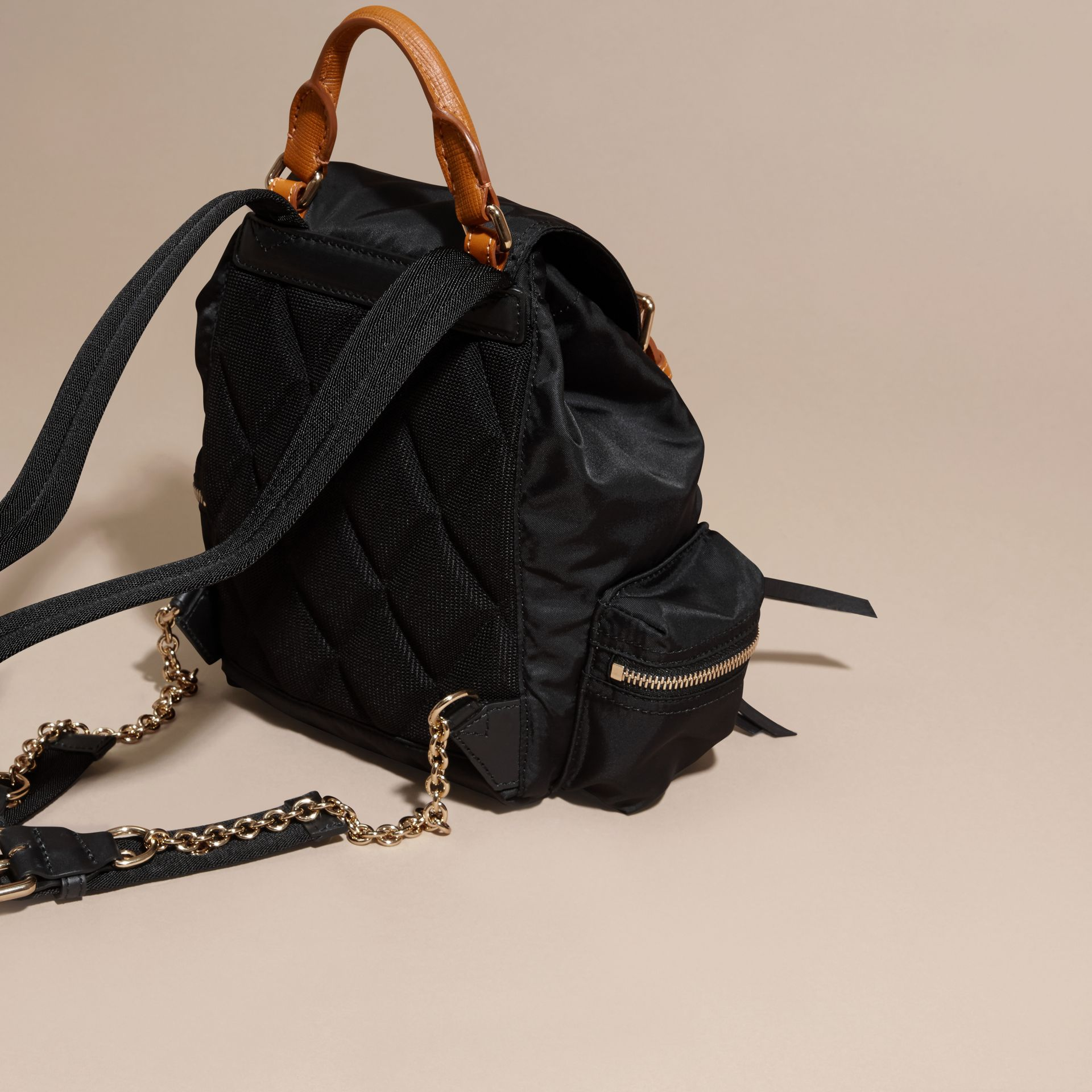 The Small Rucksack in Technical Nylon and Leather Black - gallery image 4