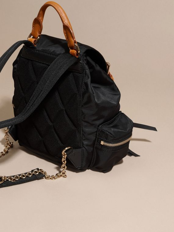 The Small Rucksack in Technical Nylon and Leather in Black - cell image 3