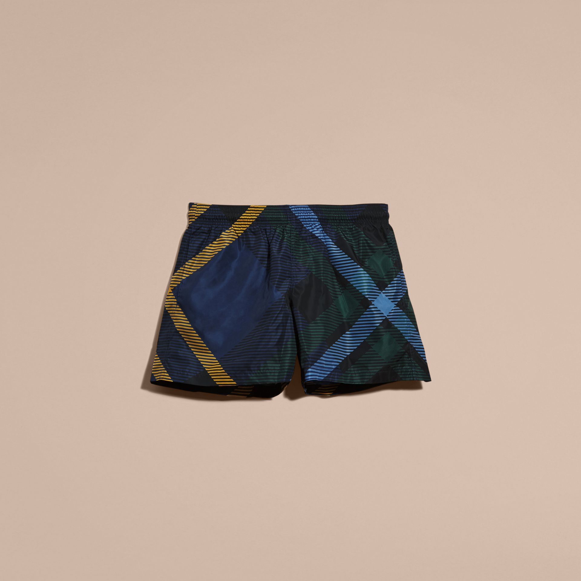 Navy Abstract Check Swim Shorts - gallery image 4
