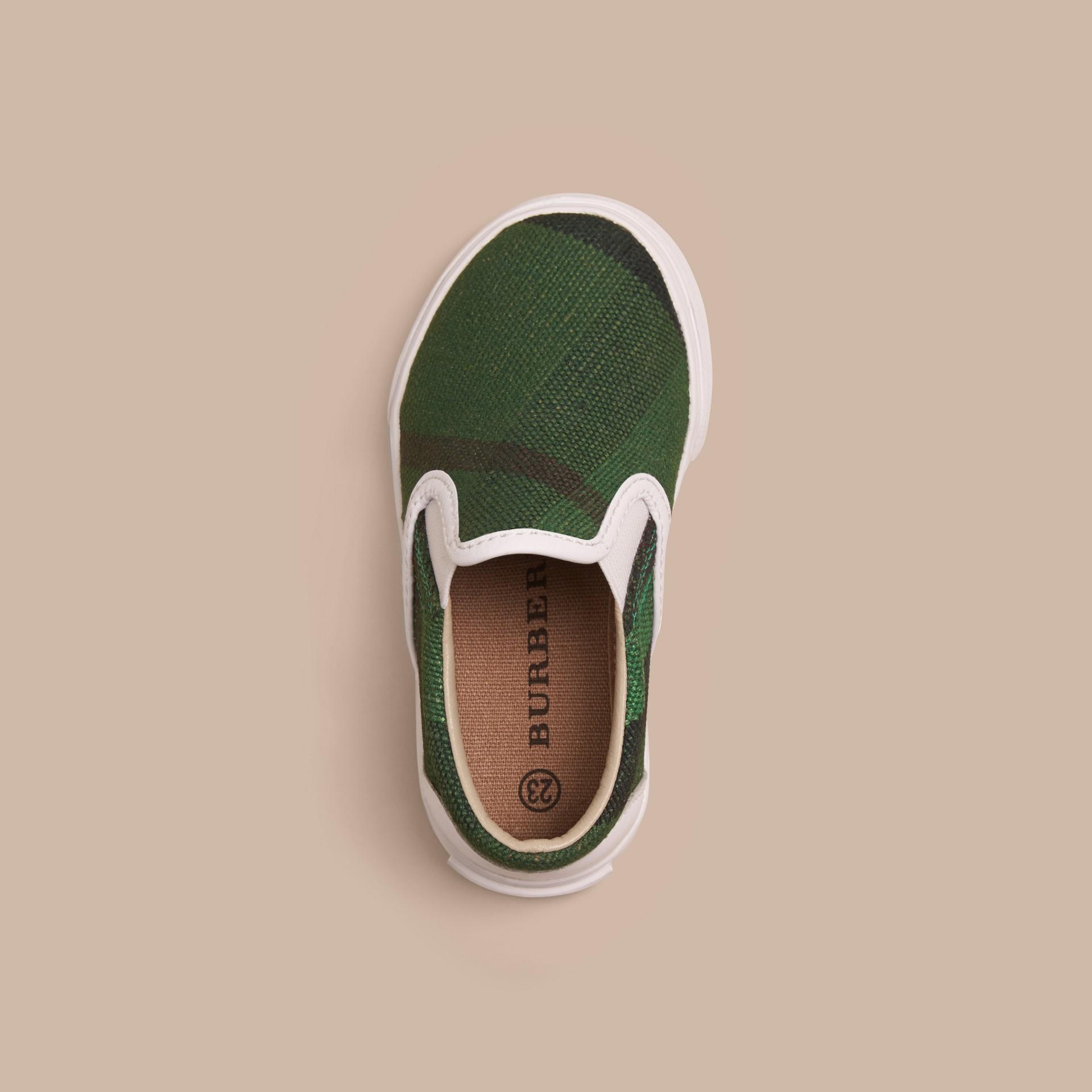 Vert jade vif Tennis sans lacets à motif Canvas check - photo de la galerie 3