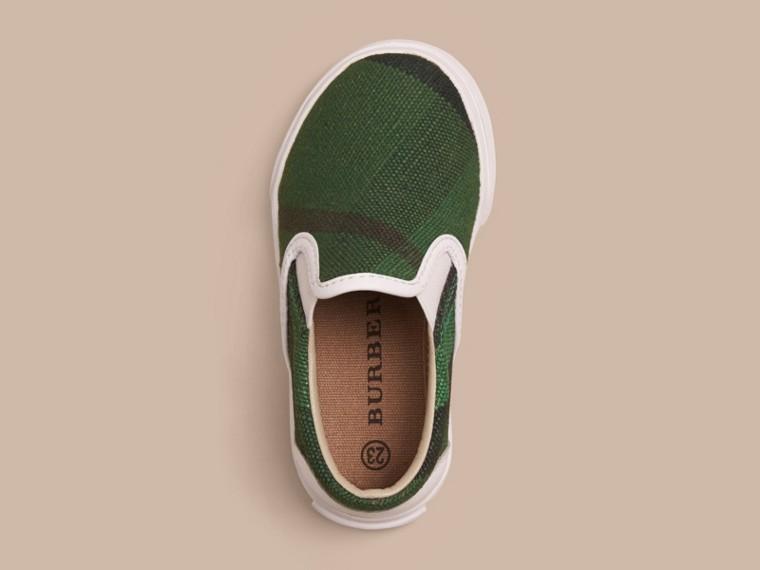 亮玉綠色 Canvas 格紋便鞋 - cell image 2