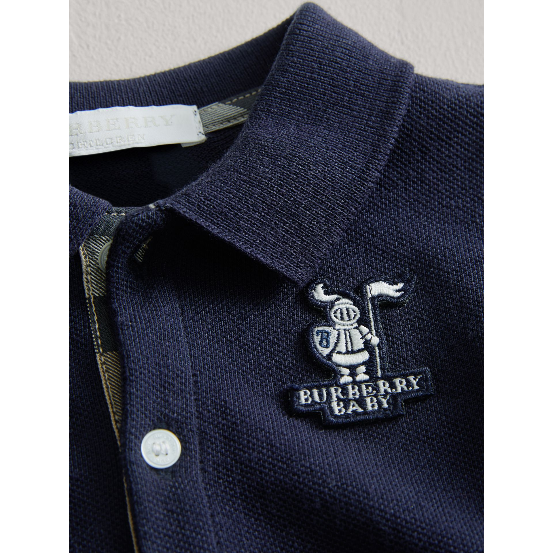 Cotton Piqué Polo Shirt in True Navy | Burberry - gallery image 1