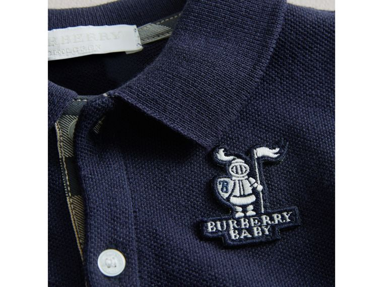 Cotton Piqué Polo Shirt in True Navy | Burberry United Kingdom - cell image 1