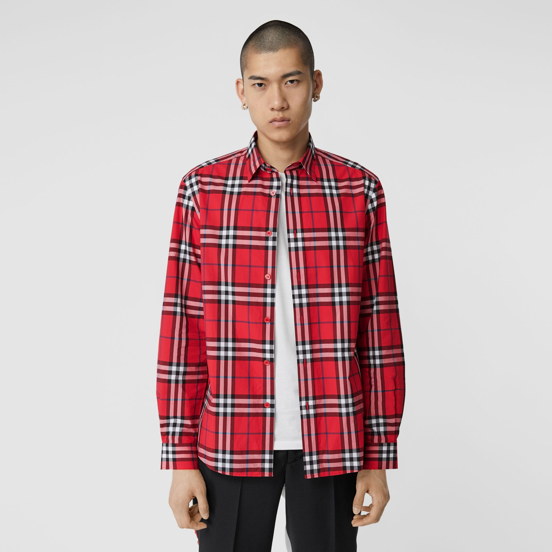 Check Cotton Poplin Shirt in Bright Red - Men | Burberry Hong Kong S.A.R - gallery image 4