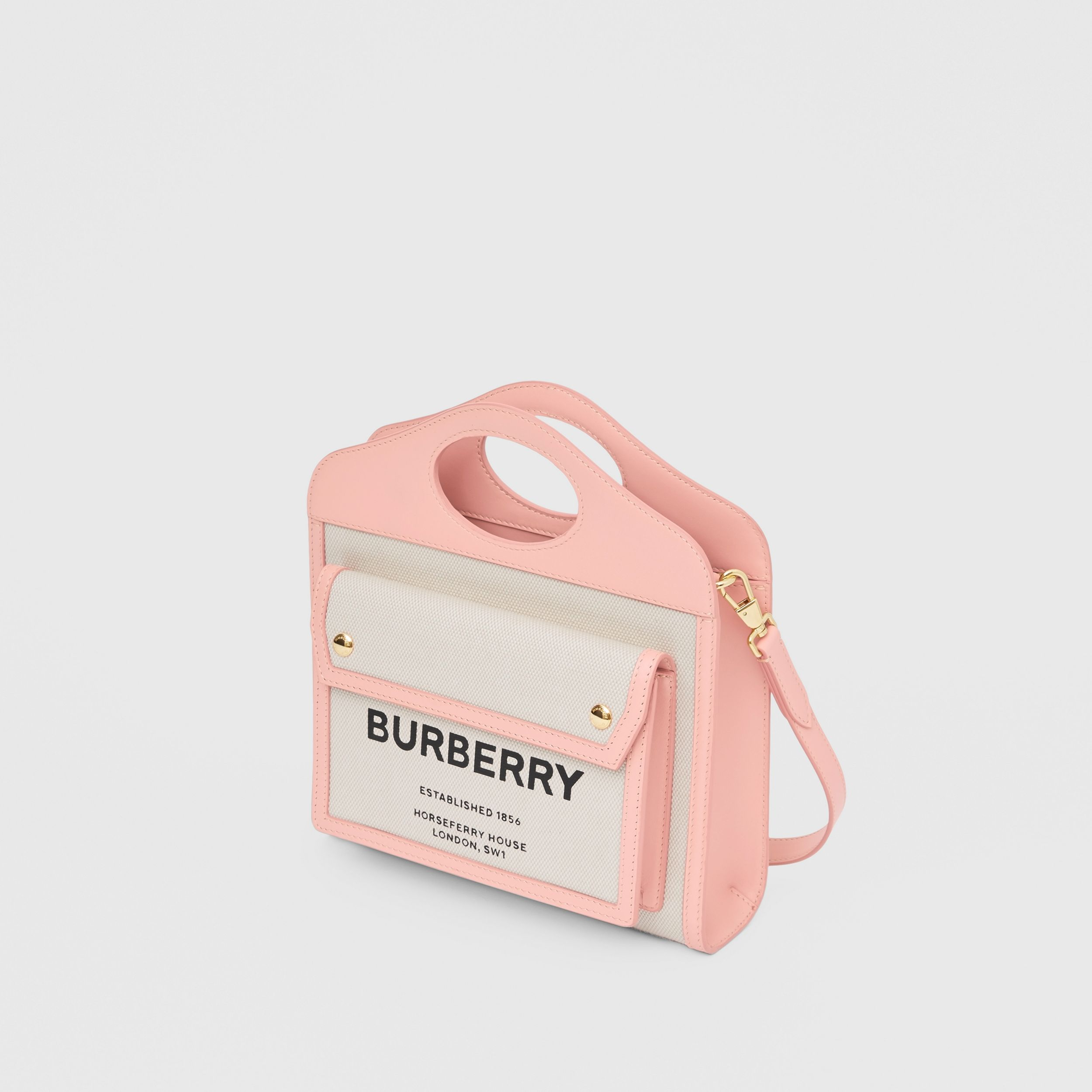 Mini Two-tone Canvas and Leather Pocket Bag in Blush Pink - Women | Burberry - 4