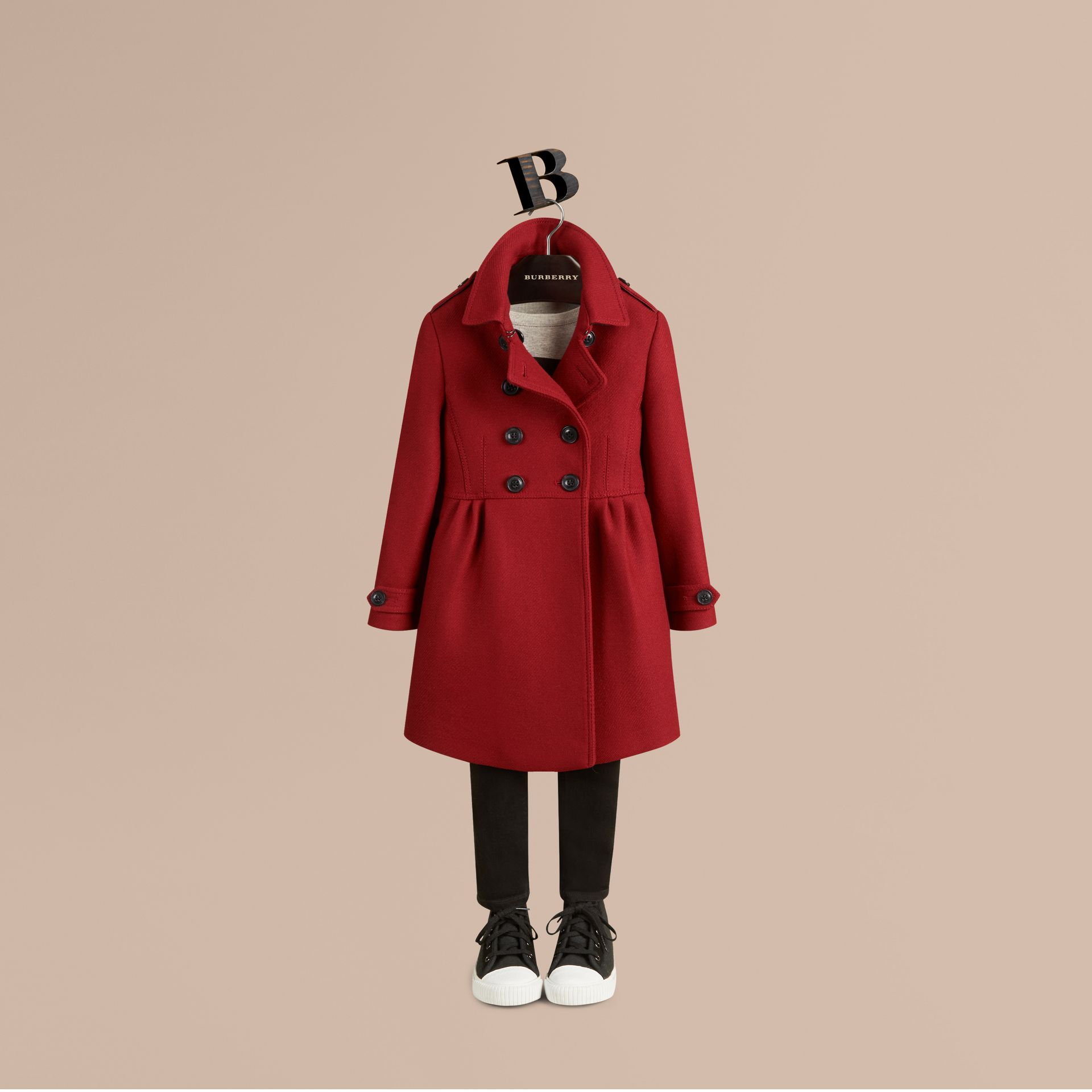 Damson red Virgin Wool Cashmere Blend Coat - gallery image 3