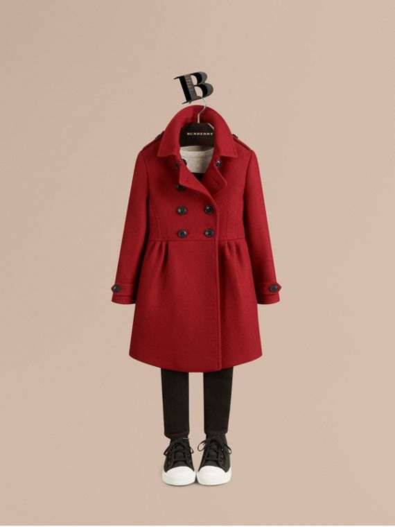 Damson red Virgin Wool Cashmere Blend Coat - cell image 2