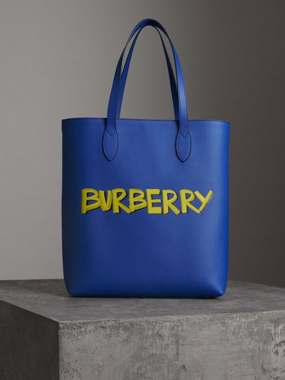 Graffiti Print Bonded Leather Tote in Denim Blue