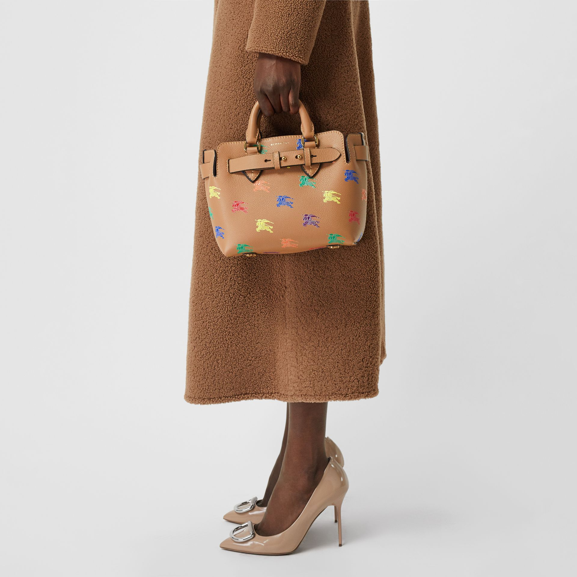 The Mini Equestrian Knight Leather Belt Bag in Light Camel - Women | Burberry United Kingdom - gallery image 3