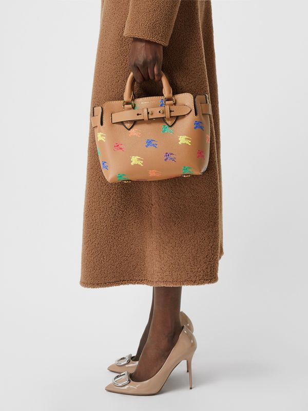 The Mini Equestrian Knight Leather Belt Bag in Light Camel - Women | Burberry United Kingdom - cell image 3