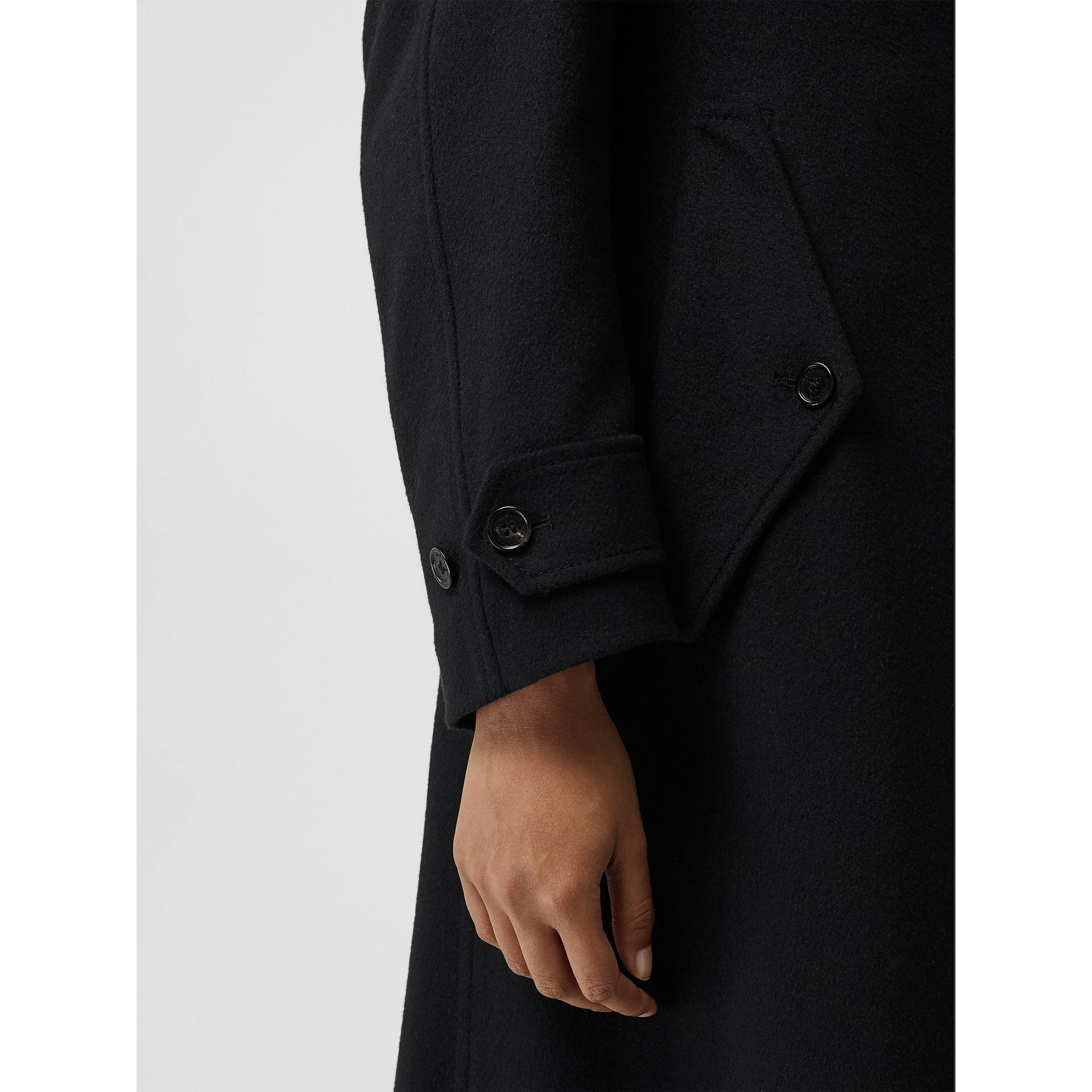 Wool Cashmere Double-breasted Coat in Black - Women | Burberry - gallery image 4