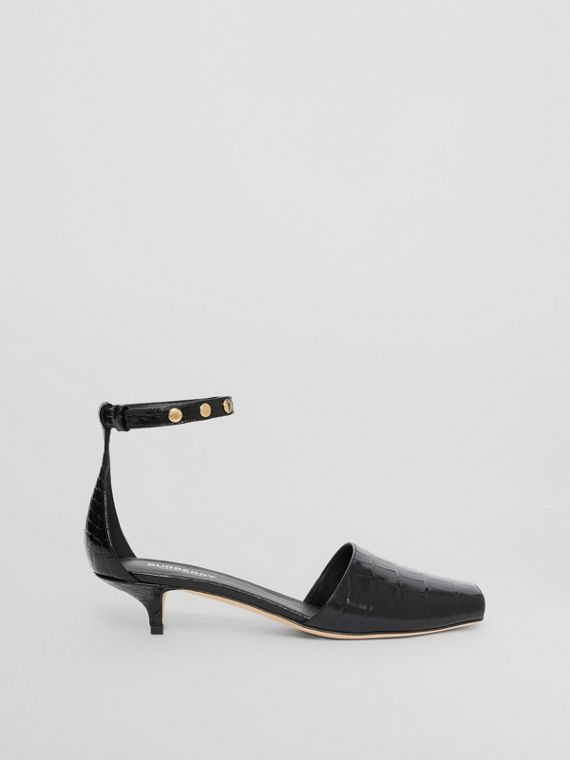 Triple Stud Embossed Leather Sandals in Black