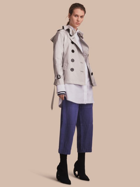 Showerproof Trench Coat in Pale Grey