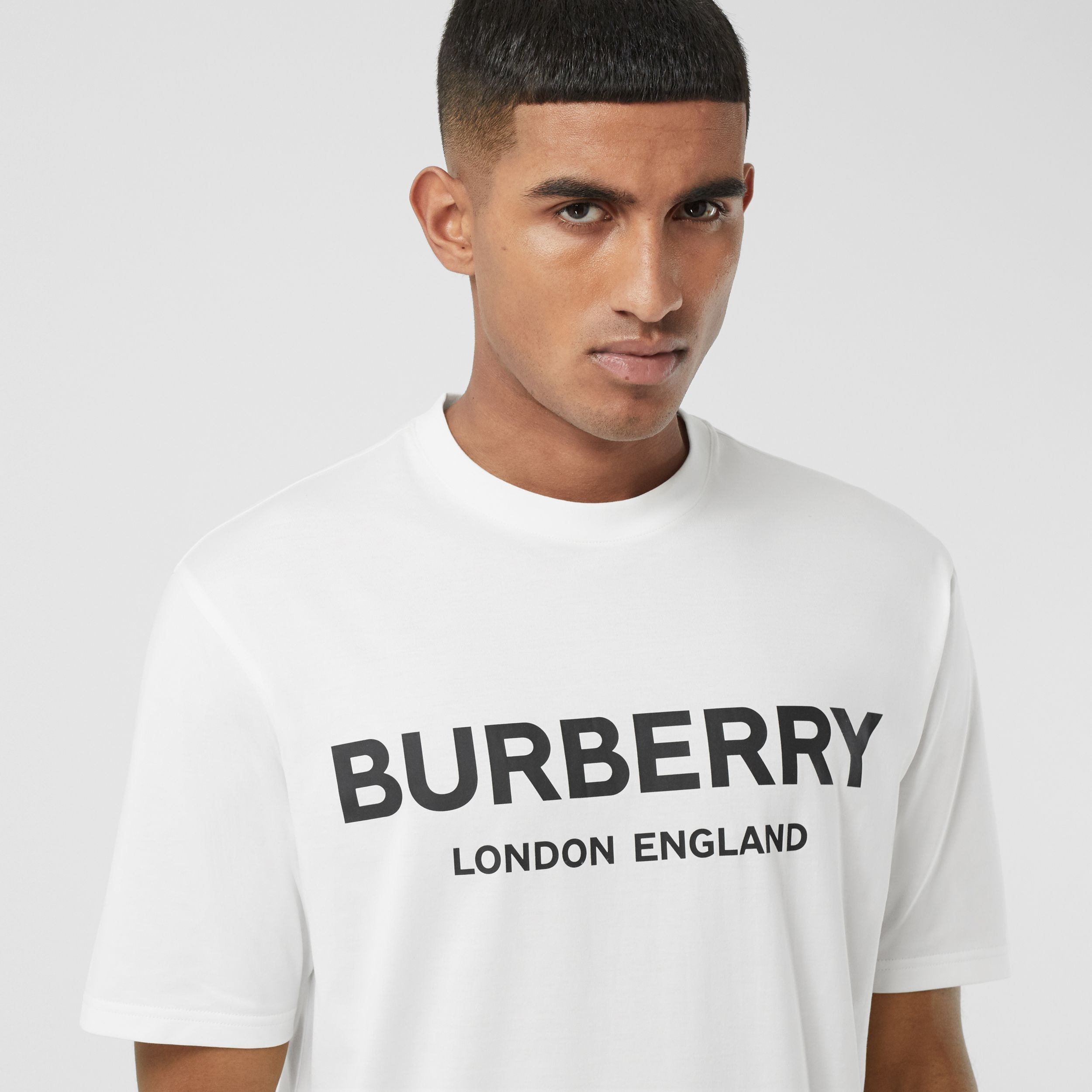 Logo Print Cotton T-shirt in White - Men | Burberry - 2