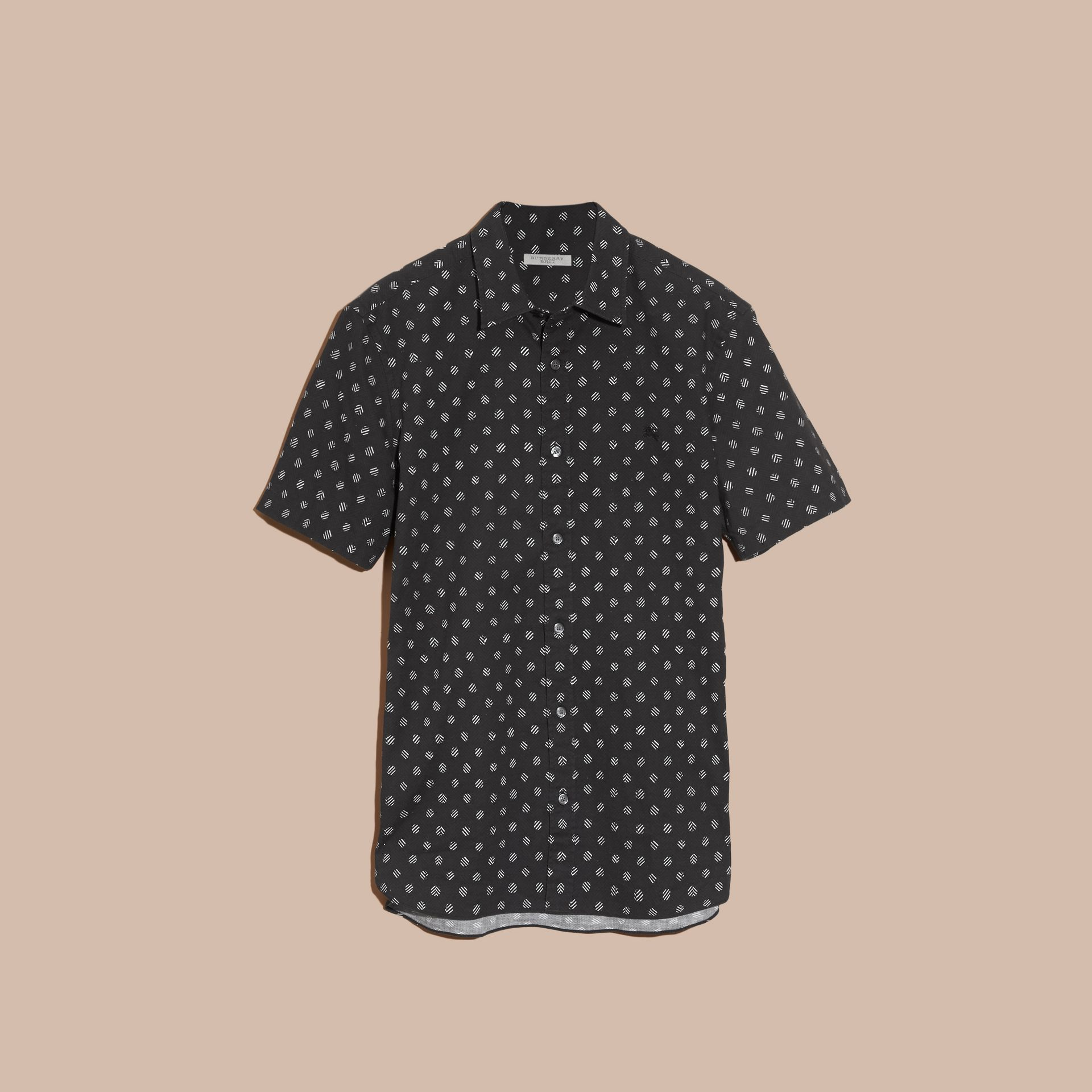 Black Short-sleeved Printed Cotton Linen Shirt - gallery image 4
