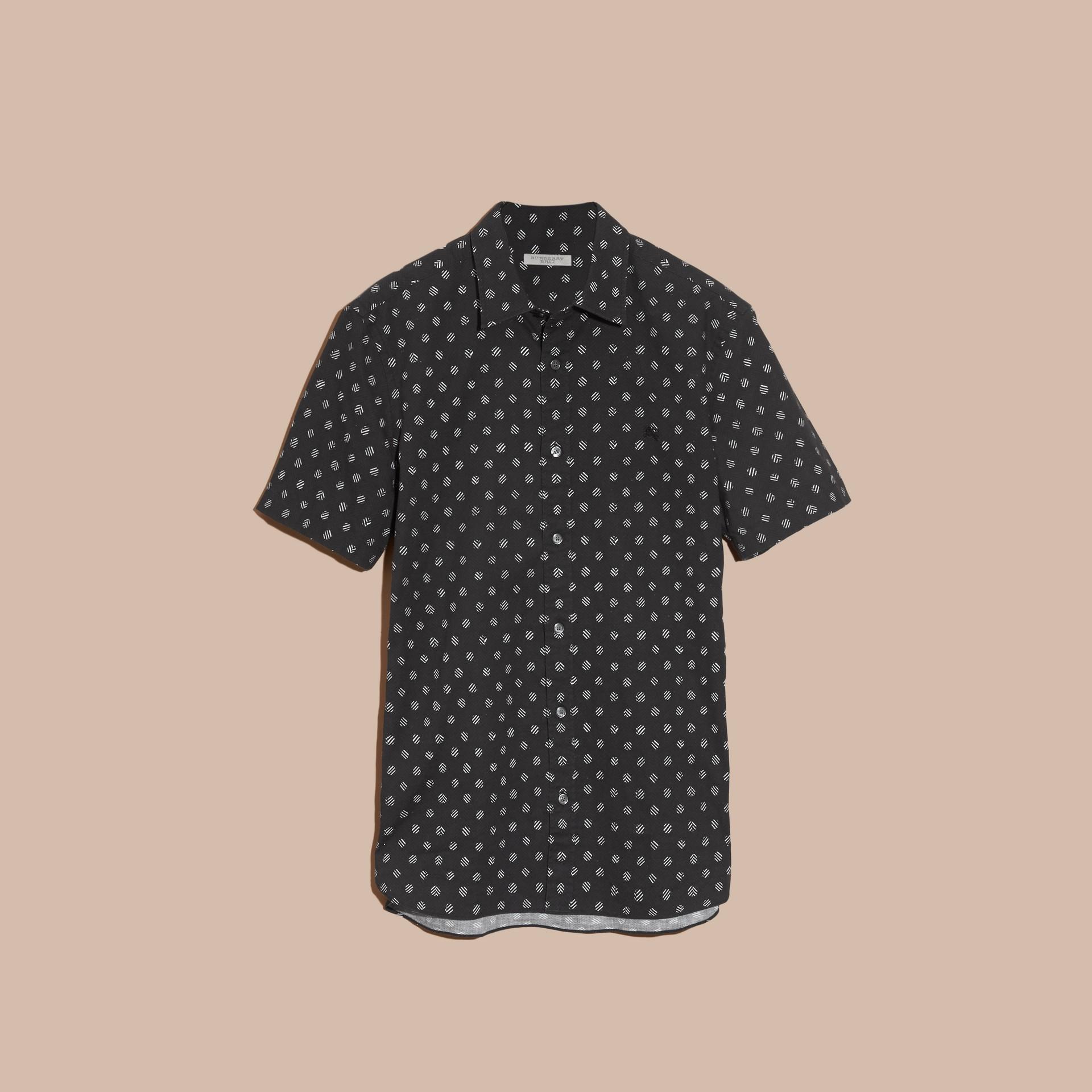 Preto Camisa estampada de linho e algodão com mangas curtas - galeria de imagens 4