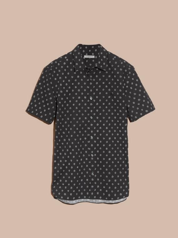 Preto Camisa estampada de linho e algodão com mangas curtas - cell image 3