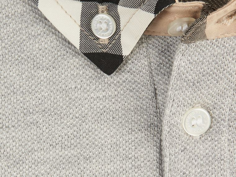 Pale grey melange Check Collar Polo Shirt Pale Grey Melange - cell image 1