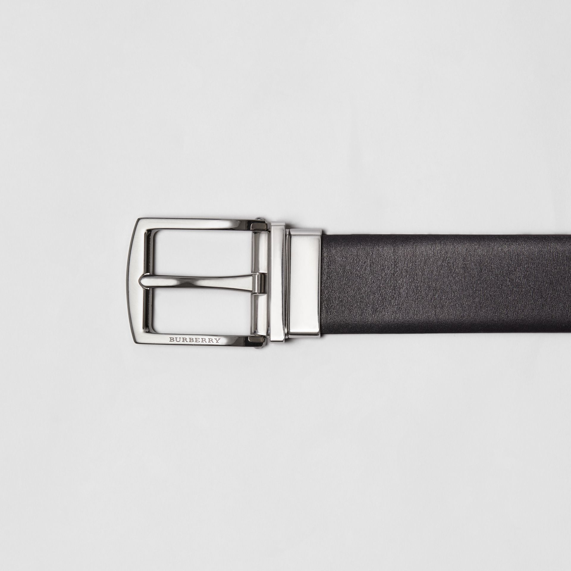 Reversible Leather Belt in Black - Men | Burberry - gallery image 1