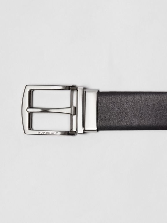Reversible Leather Belt in Black - Men | Burberry Australia - cell image 1