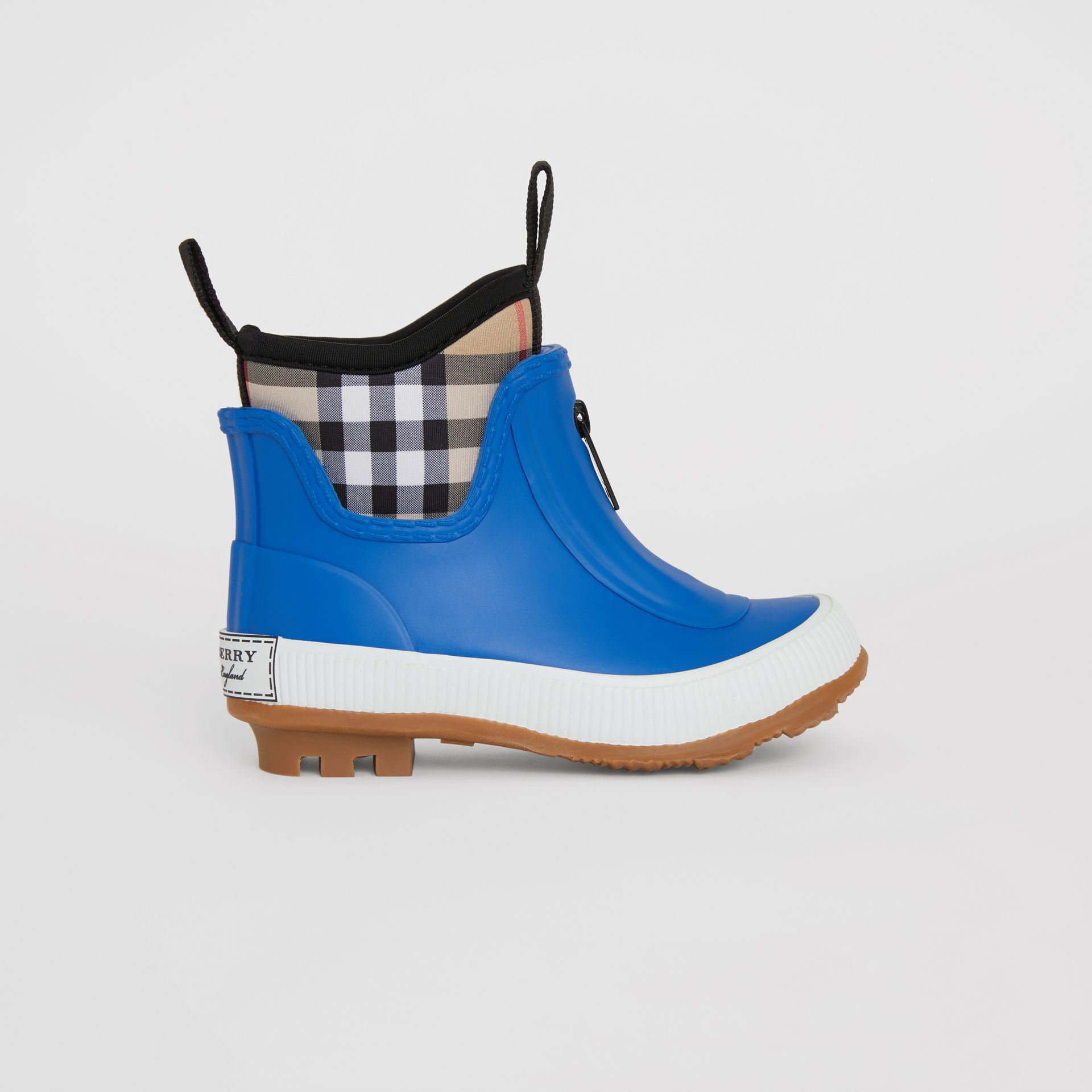 Vintage Check Neoprene and Rubber Rain Boots in Bright Canvas Blue - Children | Burberry - gallery image 3