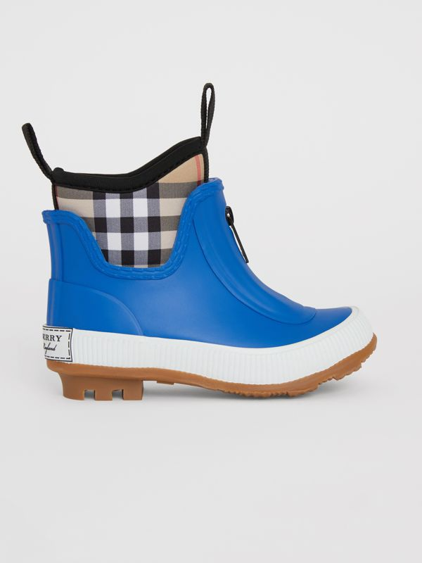 Vintage Check Neoprene and Rubber Rain Boots in Bright Canvas Blue - Children | Burberry - cell image 3