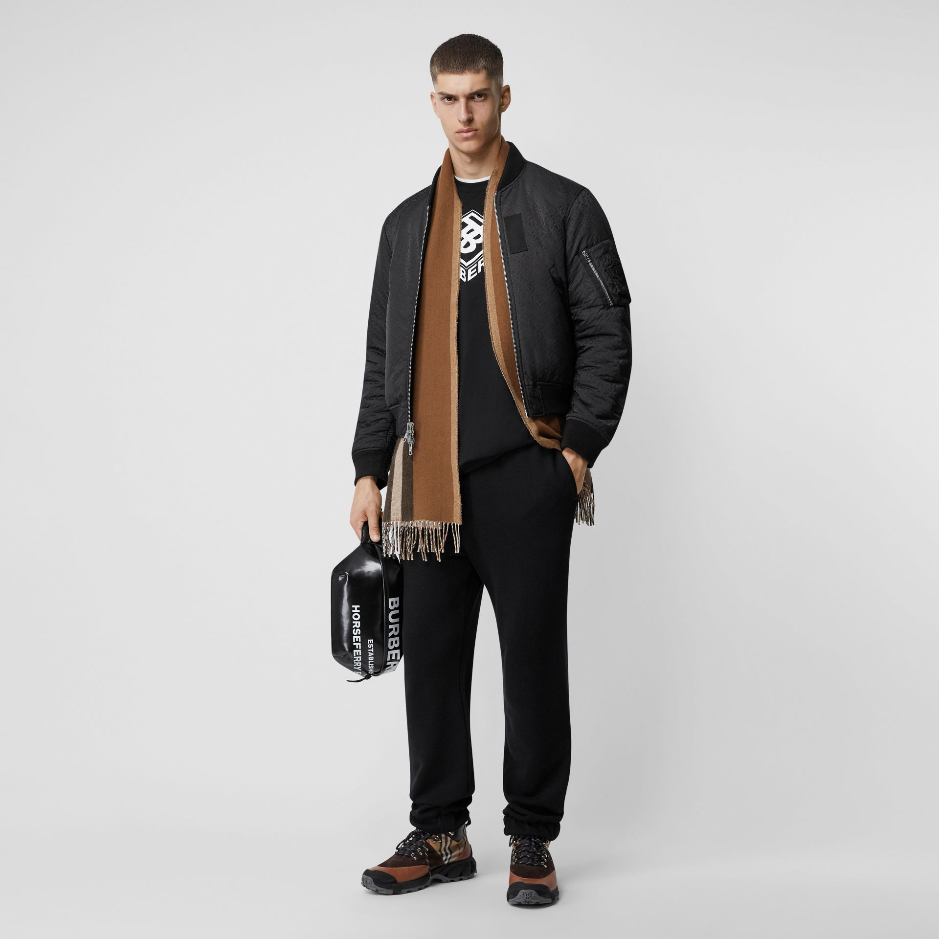 Reversible Icon Stripe Cashmere Scarf in Dark Chestnut Brown | Burberry Australia - gallery image 7