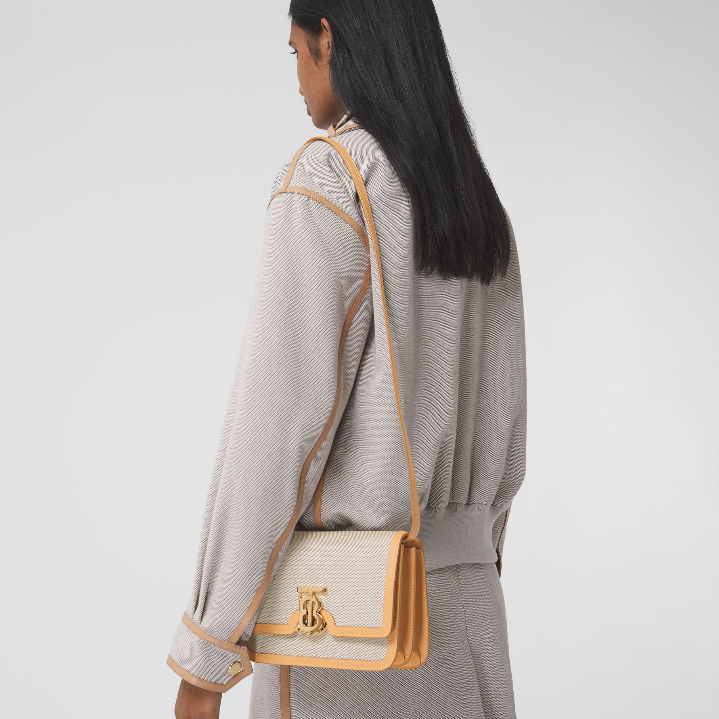 Small Two-tone Canvas and Leather TB Bag in Soft Fawn/warm Sand - Women | Burberry - 3