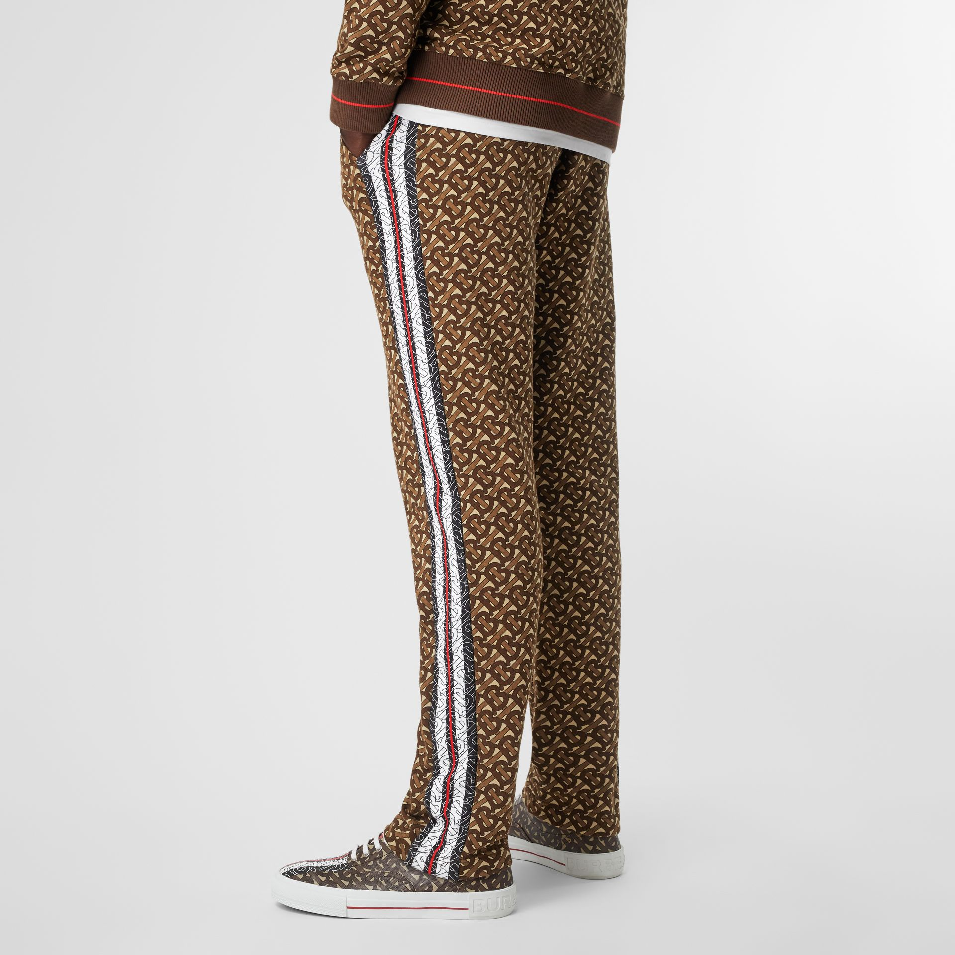 Monogram Stripe Print Cotton Trackpants in Bridle Brown - Men | Burberry - gallery image 2