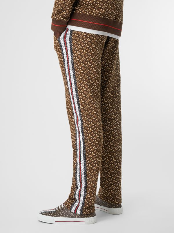 Monogram Stripe Print Cotton Trackpants in Bridle Brown - Men | Burberry - cell image 2