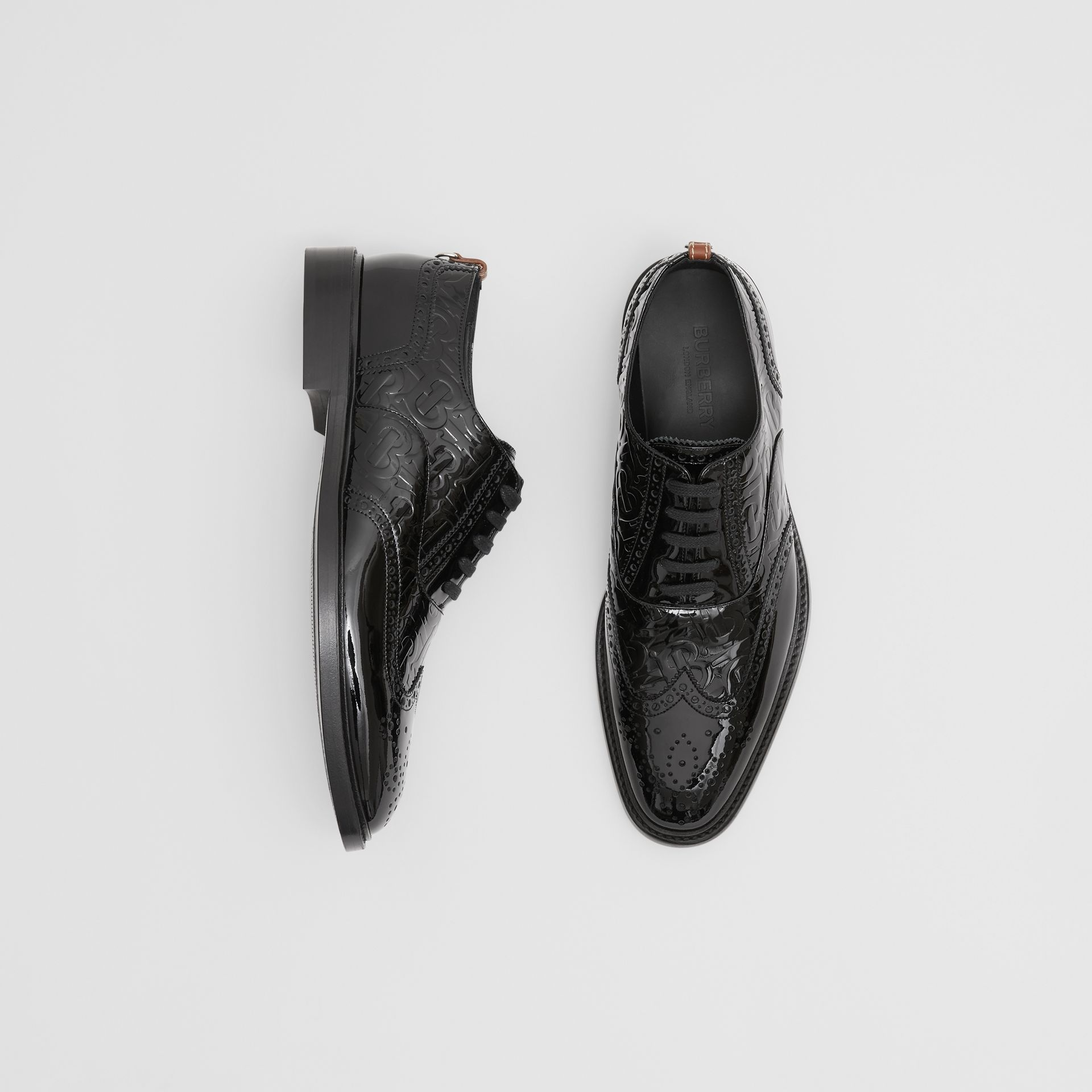 D-ring Detail Monogram Patent Leather Brogues in Black - Men | Burberry Canada - gallery image 0