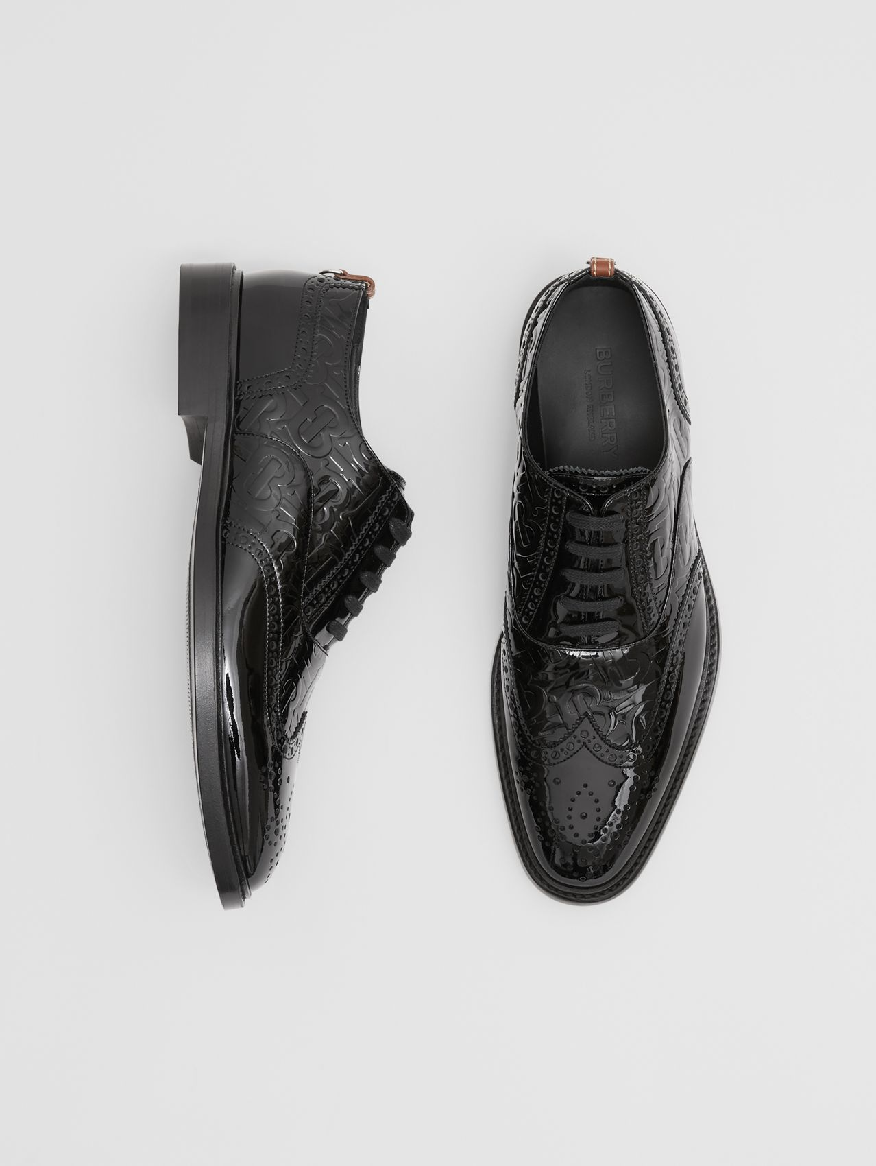 D-ring Detail Monogram Patent Leather Brogues in Black