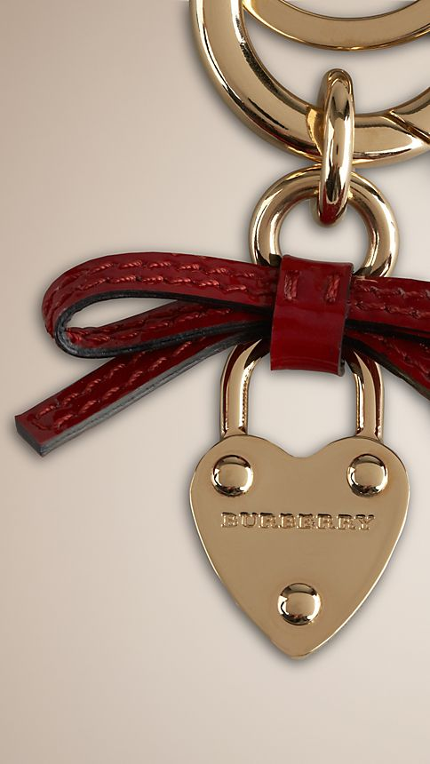 Military red Bow Detail Heart Padlock Key Charm - Image 2