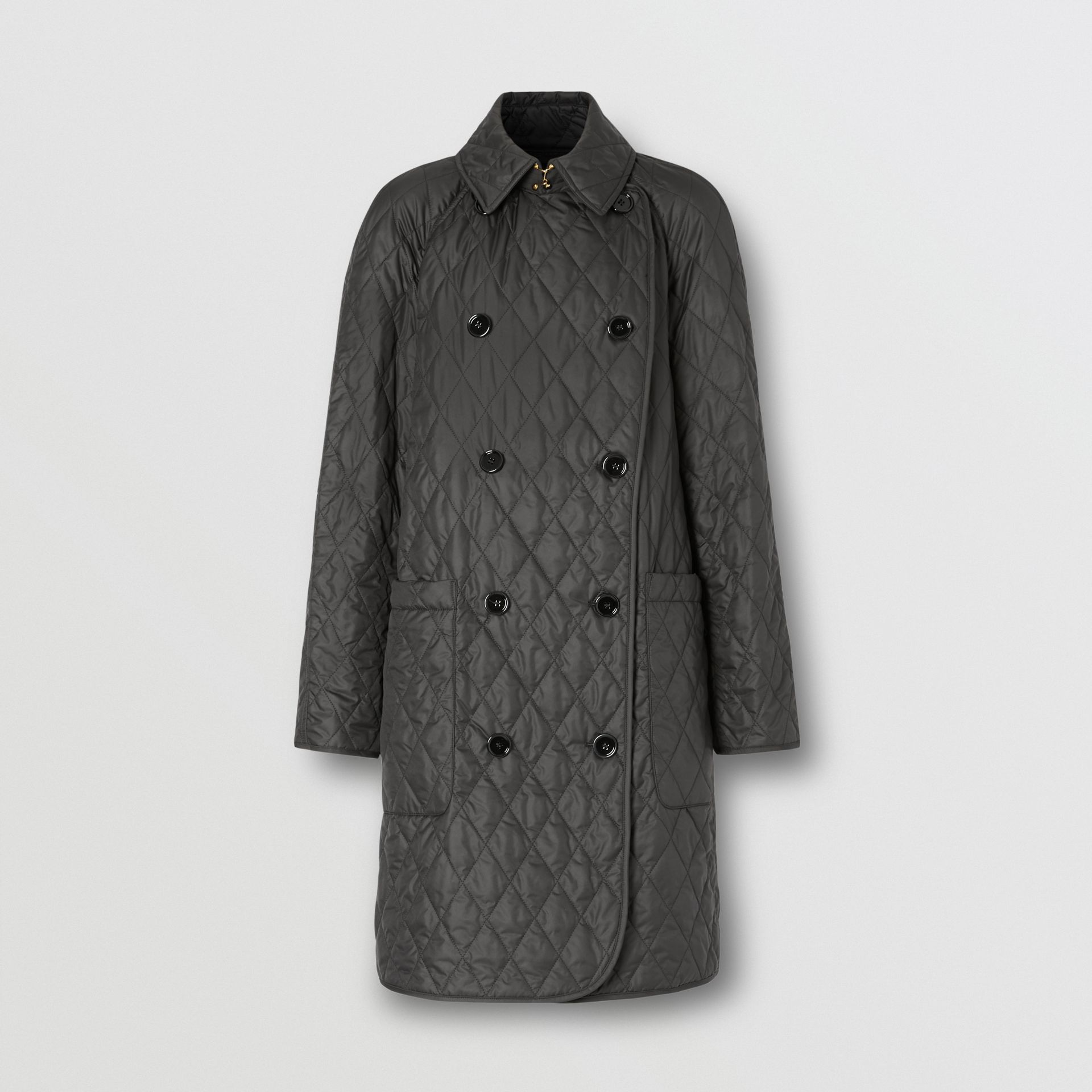 Diamond Quilted Double-breasted Coat in Black - Women | Burberry - gallery image 3